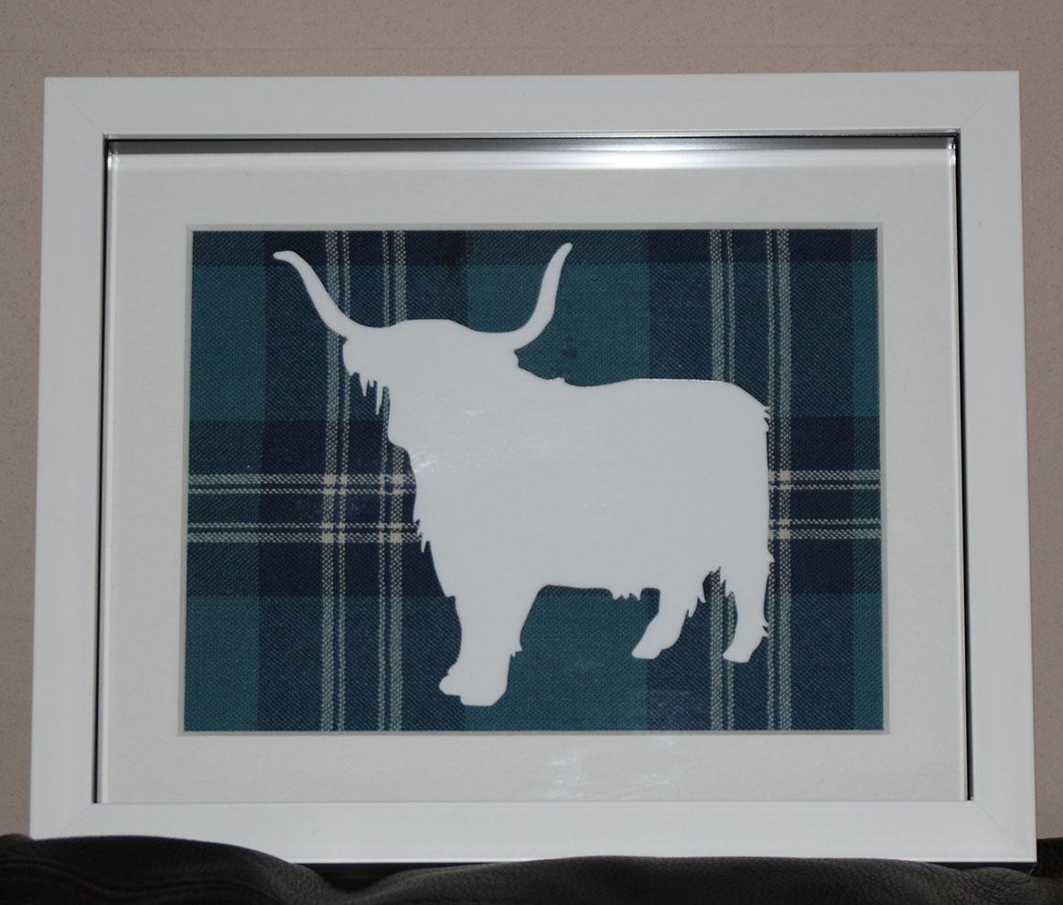 Highland Cow large tartan background