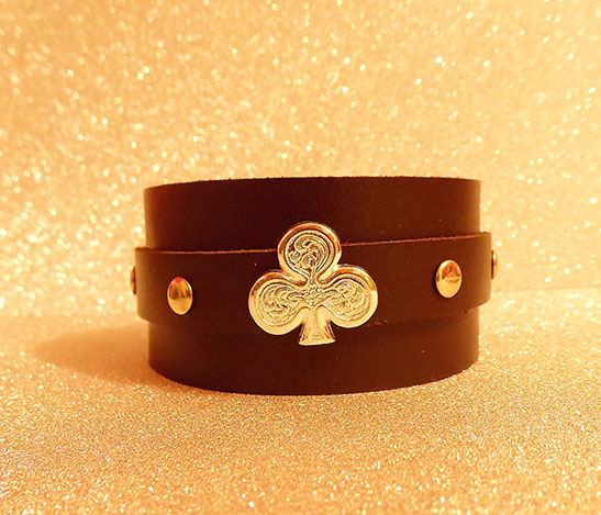 Brown leather club design leather cuff