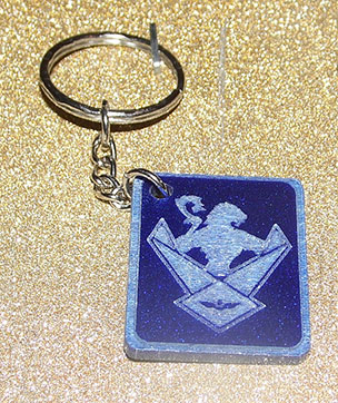 Blue glitter WOS shield keyring
