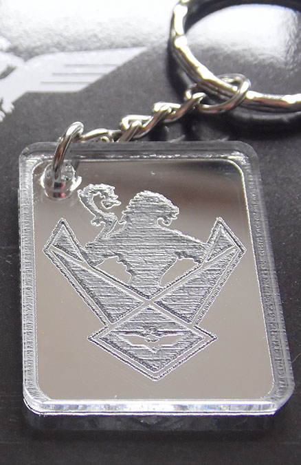 Wings Over Scotland shield mirrored keyring