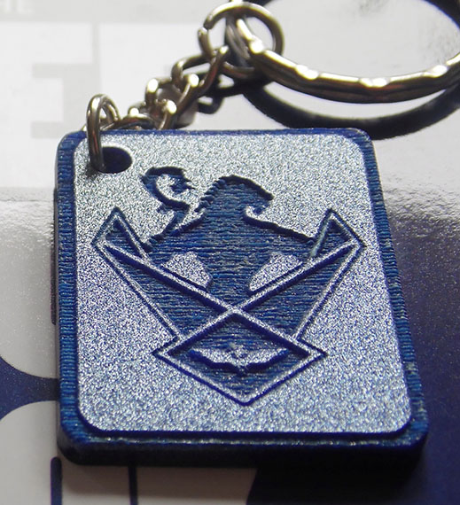 Silver Glitter WOS Shield Key Ring
