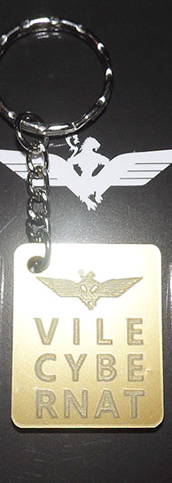 Gold metallic WOS Vilecybernat Key Ring