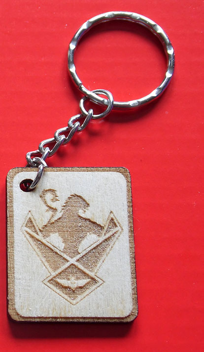 Wooden engraved WOS shield Key Ring