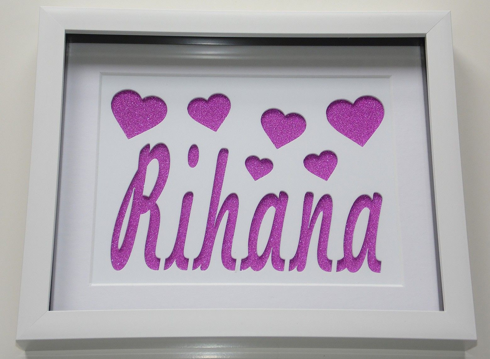 our custom lasercut name frames can be done in almost any background and tweaked to suit you these glitter backed frames look great in nurseries and make a - Name Picture Frames