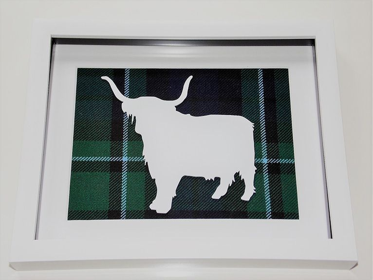 Highland Cow large tartan background