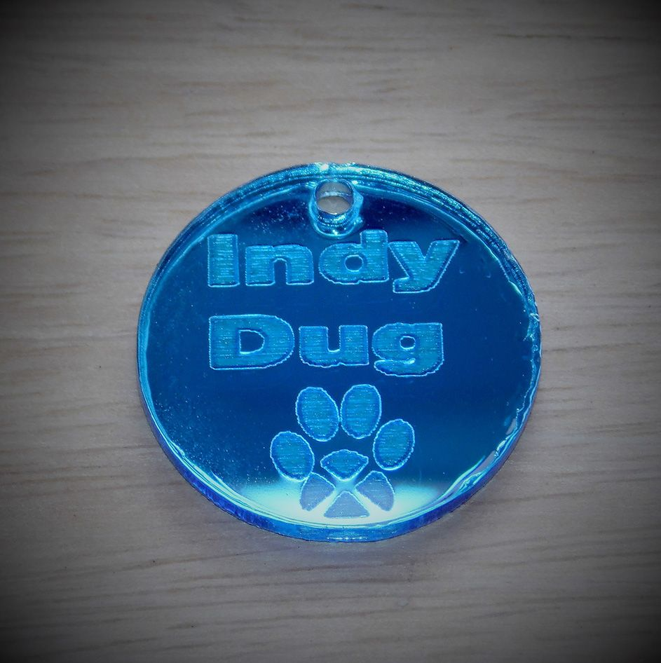 Mirrored 'Indy Dug' collar tag
