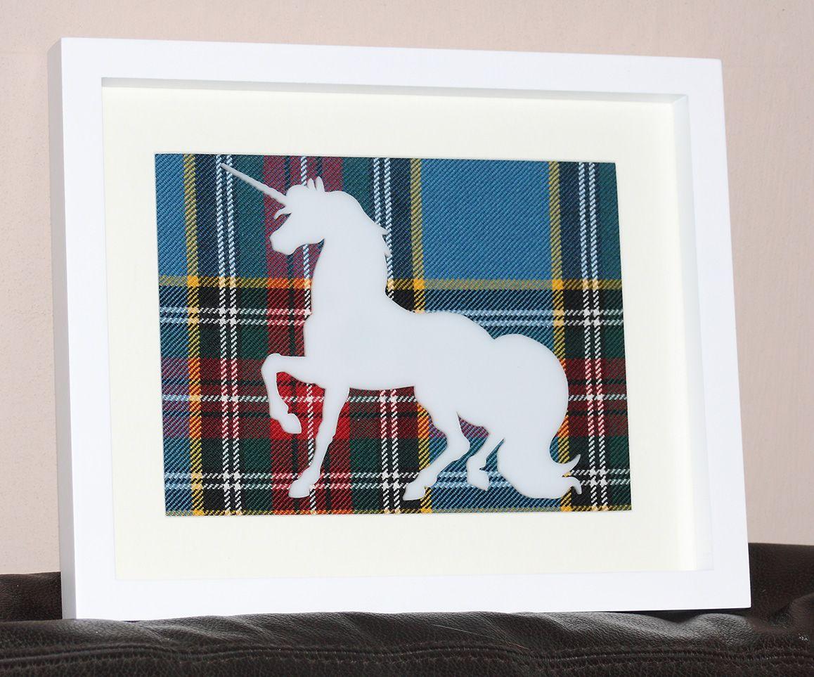 Unicorn large tartan background