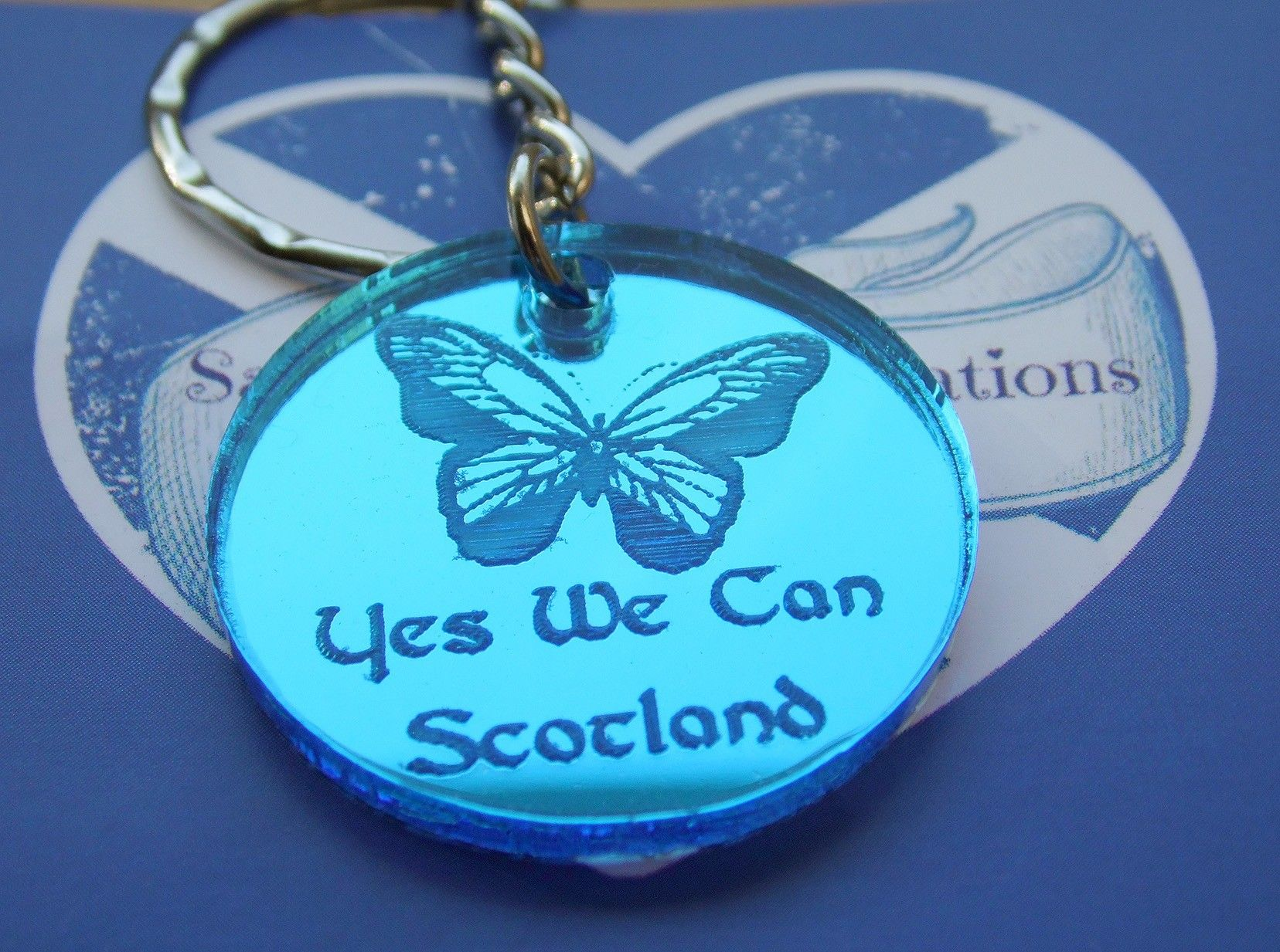 Yes We Can Scotland keyring blue