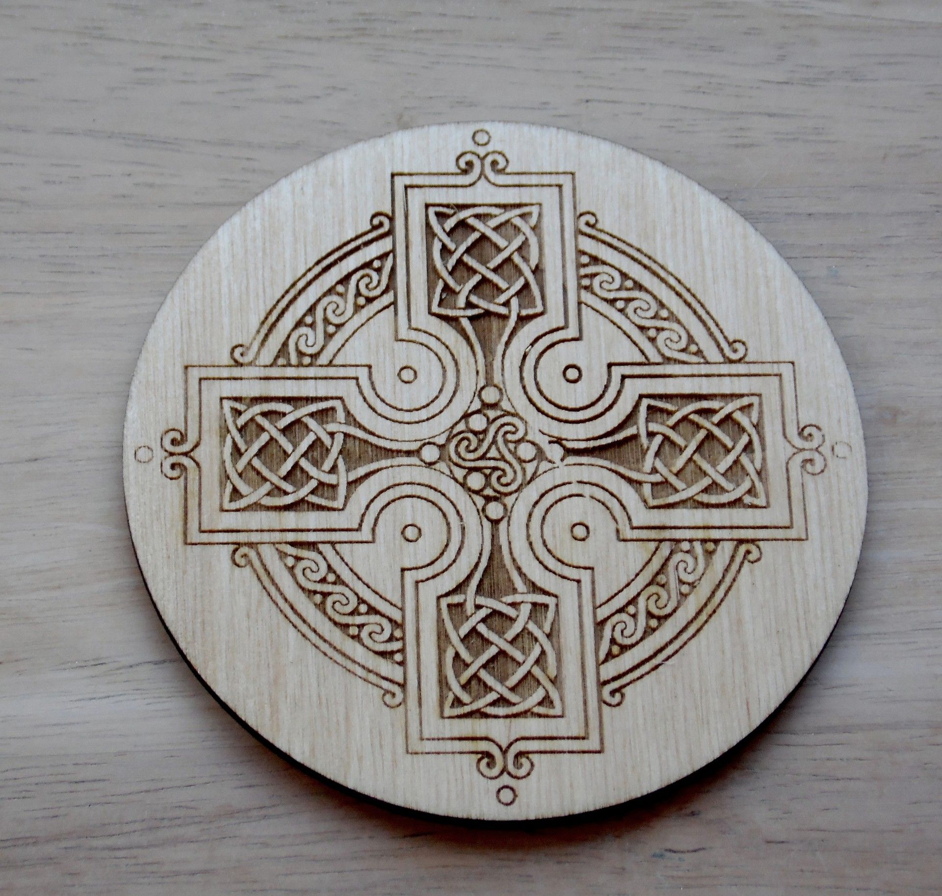 Celtic Cross engraved coaster set x 4
