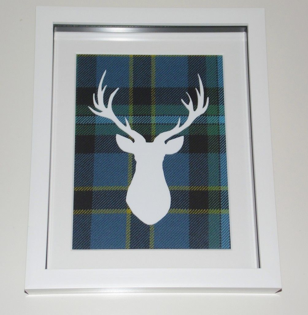 Stags head large tartan background