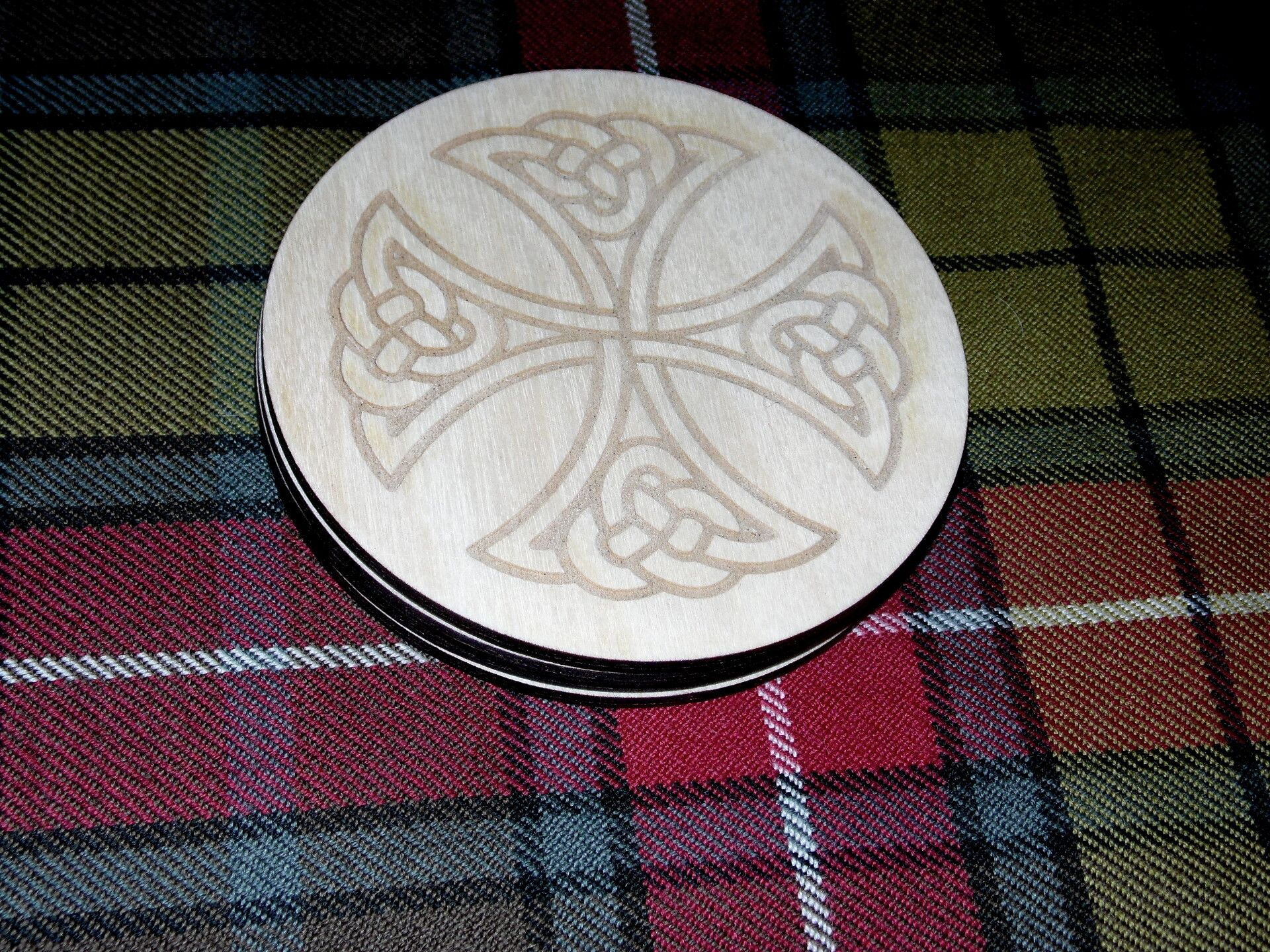 Celtic Cross #2 engraved coaster set x 4
