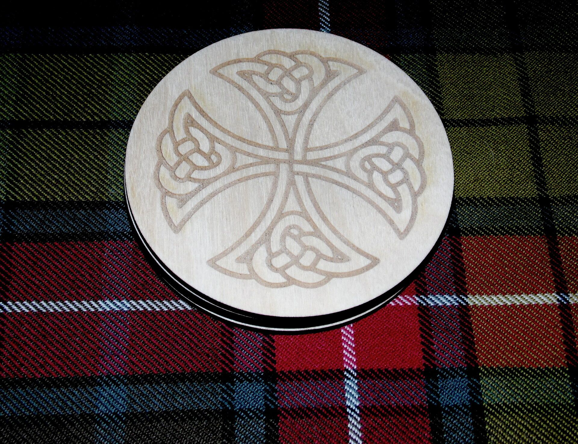 Celtic Cross #2 engraved coaster set x 4