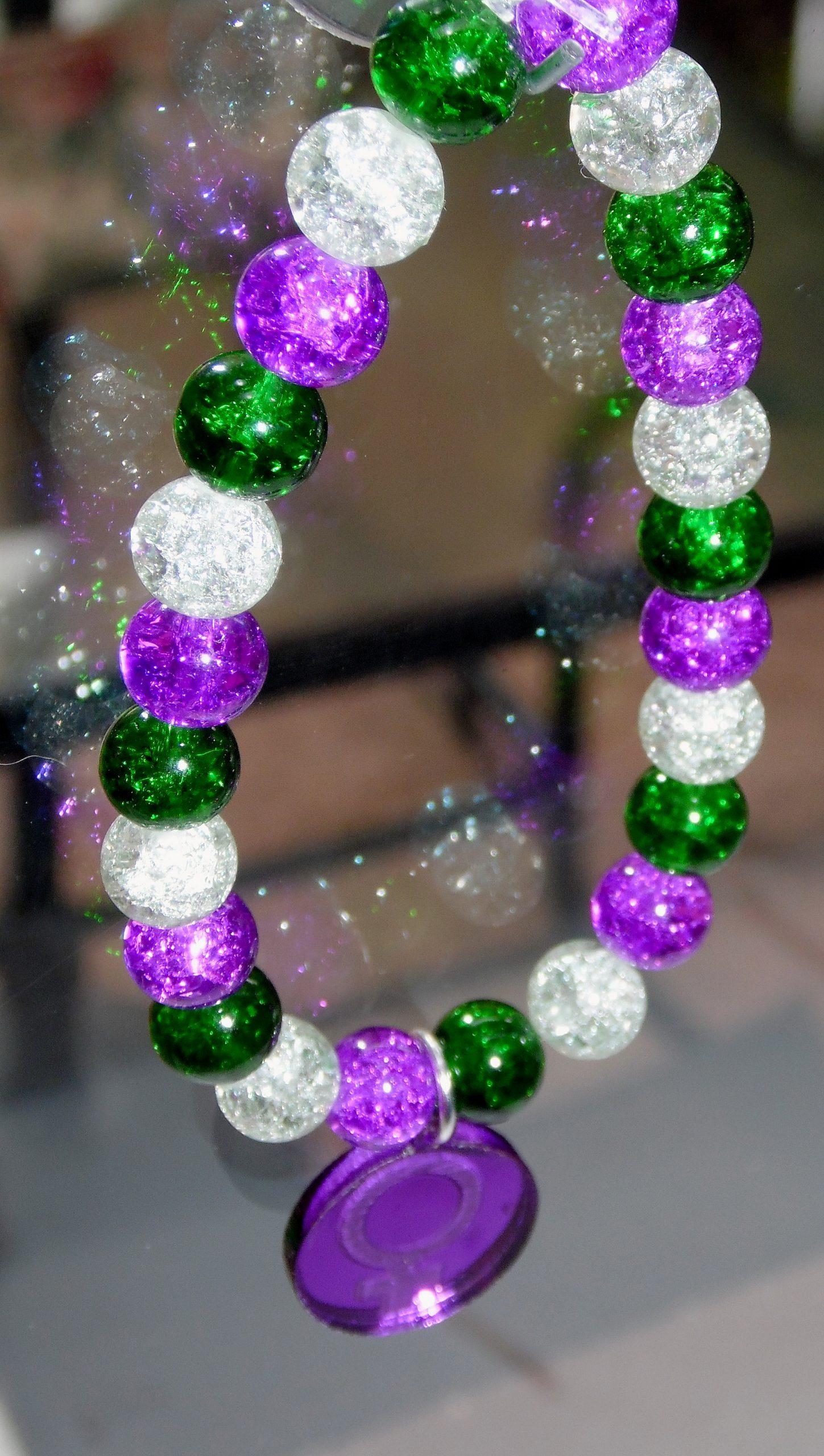 Suffragette inspired beaded bracelet.